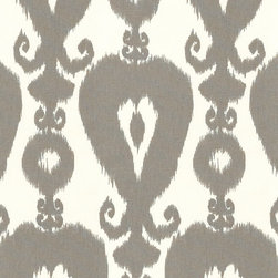 "Ballard Designs - Menzel Gray Fabric by the Yard - Content: 100% Cotton. Repeat: Non-railroaded fabric with 27"" repeat. Care: Dry Clean. Width: 54"" wide. Off-white and gray Ikat printed on supple 100% cotton. . . . . Because fabrics are available in whole-yard increments only, please round your yardage up to the next whole number if your project calls for fractions of a yard. To order fabric for Ballard Customer's-Own-Material (COM) items, please refer to the order instructions provided for each product. Ballard offers free fabric swatches: $5.95 Shipping and Processing, ten swatch maximum. Sorry, cut fabric is non-returnable."