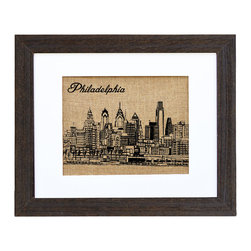 Fiber and Water - Philadelphia Skyline Art - Hand-pressed onto burlap like a vintage sack design, this lovely sketch of the Philly skyline has a nostalgic charm that will resonate with your fondest memories. It comes ready to hang in a distressed black wood frame that complements the print's earthy vibe.