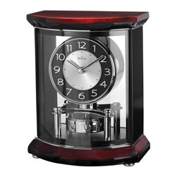 BULOVA - Bulova Gentry Mantel Clock with Revolving Pendulum - Solid woodtop and base, high gloss piano finish over manogany stain.