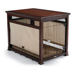 Frontgate - Luxury Mahogany Pet Residence Dog Crate - Medium (Up to 50 lbs.) - Features a raised base that protects floors. Base is easily removed for cleaning. Included crate pad is made from ergonomic, washable microfiber and orthopedic foam cushion. Solid construction and fine-quality materials for superb durability. We strongly recommend assessing the dimensions of the crate in addition to your dog's weight prior to purchase, as different dog breeds may vary in weight and size. Our Luxury Pet Residence with FREE Crate Pad provides ultimate comfort for your pet and doubles as an attractive piece of furniture. Animal instinct calls for a den-like space, and this upscale pet crate provides just that--discover The Frontgate Difference. Built from the finest hardwood and outfitted with integrated roller shades, our residence provides the enclosure your pet craves, and the smart style you deserve.. . . . . Assembly required; view large and medium crate instructions. A Frontgate exclusive. Note about FREE Crate Pad: Mahogany Finish comes with a Brown with Houndstooth Piping pad.