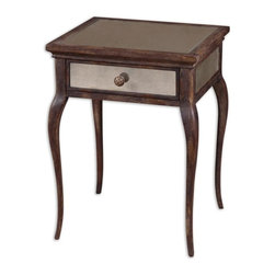 Matthew Williams - Matthew Williams St. Owen Traditional End Table X-75142 - Sun washed, natural wood in time worn shades of wheat and russet, with a French dovetail drawer and antiqued mirrors on top, sides and back.