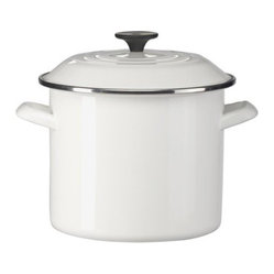 6 Quart Covered Stockpot, White