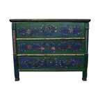 Pre-owned Vintage Green Hand-Painted Chest - We think the character Heidi would love this Romanian trunk from 1881 and so do we. The hand-painted details are sweet in a blue, green, red, and white color combination and make this trunk ideal for a child's bedroom to give it a little texture, history, and of course, storage space. Or, it would also be wonderful in an adult's room to keep you young and playful!