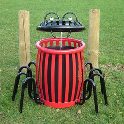 Paris Equipment 22 Gallon Spider Creature Can Litter Receptacle - Perfect for parks and playgrounds, the Paris Equipment 22 Gallon Spider Creature Can Litter Receptacle has a fun, unique design that kids will love. Smartly designed to look like a spider, this trash receptacle is constructed of durable steel and features bright red paint on the body, and a black painted head and legs. These legs add extra stability during windy conditions to this receptacle that already weighs over 200 lbs. The lid of the can serves as the spiders head and features two silly eyes and a spider web. The fun design of this receptacle will encourage children to put litter in its place.About Paris Equipment Manufacturing Ltd.Rest assured that your green spaces and park areas are in good hands when you add Paris Equipment products to them. Paris knows that community parks are more than just green spaces. They create a sense of well being and community. From benches, such as the Premier, through to picnic tables, litter receptacles and bike racks, Paris Equipment Manufacturing Limited has been built on providing safe, durable furnishings and amenities to make any park memorable.