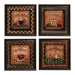 ecWorld - Urban Designs 4-Piece Set Artisan Metal Wall Art - Barista Coffee House - Great for coffee shops or at home!. This wall art arrives ready to hang.