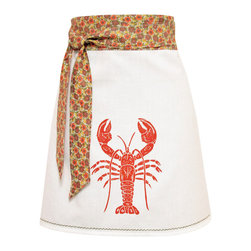 artgoodies - Organic Lobster Apron - Each organic apron is hand printed with an original hand carved block print by Lisa Price. The band and ties are made of a coordinating vintage-style fabric and the embroidered accent at the bottom sets the fabric off just right! Dazzle your kitchen on any ordinary day or be the cutest hostess ever!