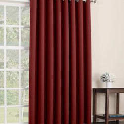 Sun Zero - Red Mercer Blackout Patio Panel - Filter light, reduce noise and even insulate your home with this curtain panel that offers both function and essential style. Its grommet construction prevents snags and makes installation a breeze.   Includes one panel Grommet Woven 100% polyester Machine wash Imported