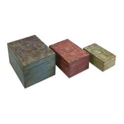 Circus Boxes - Set of 3 - Featuring vintage circus poster transfers, this set of three lidded boxes make excellent storage containers for table, desk or vanity tops.