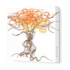 """Avalisa - Imagination - Branches Stretched Wall Art, 28"""" x 28"""", Orange - Simply add one piece of art to your home and watch how your personality starts to play out on the walls. The lively lines and swirls of these abstract branches will bring great energy and complement many home design styles. And with a stretched canvas, you won't even have to worry about framing!"""