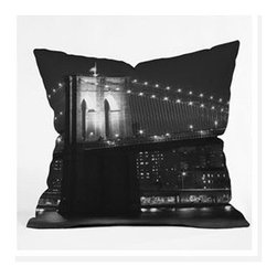 "DENY Designs - Leonidas Oxby Brooklyn Bridge 125 Throw Pillow - Wanna transform a serious room into a fun, inviting space? Looking to complete a room full of solids with a unique print? Need to add a pop of color to your dull, lackluster space? Accomplish all of the above with one simple, yet powerful home accessory we like to call the DENY Throw Pillow! Features: -Leonidas Oxby collection. -Material: Woven polyester. -Sealed closure. -Spot treatment with mild detergent. -Made in the USA. -Closure: Concealed zipper with bun insert. -Top and back color: Print. -Small dimensions: 16"" H x 16"" W x 4"" D, 3 lbs. -Medium dimensions: 18"" H x 18"" W x 5"" D, 3 lbs. -Large dimensions: 20"" H x 20"" W x 6"" D, 3 lbs."