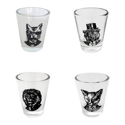 Inova Team -Modern Headshot Glasses - Set of 4 - Throw back a shot from these western-inspired animal headshot glasses. Each glass features a different animal headshot that will put a smile on your face even before you get a taste.
