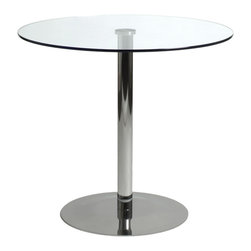 "Euro Style - Ava Bistro Table 31.5"" - A highly polished, chromed steel base and pedestal are topped by tempered clear glass.  The Ava table presents a clean, modern impression.  Easy to care for.  Easy to love."