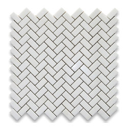 "Thassos White 5/8 x 1 1/4 Herringbone Mosaic Tile Polished - Marble from Greece - Premium Grade Grecian Thassos Snow White Marble Polished 5/8x1 1/4"" Herringbone Mosaic Wall & Floor Tiles are perfect for any interior/exterior projects such as kitchen backsplash, bathroom flooring, shower surround, countertop, dining room, entryway, corridor, balcony, spa, pool, fountain, etc. Our large selection of coordinating products is available and includes hexagon, brick, basketweave mosaics, field, subway tiles, moldings, borders, and more."