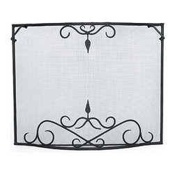 Achla - Curved Fire screen w Antique Scroll Details ( - Choose Firescreen Size: Small: 39 in. W x 31 in. HCurved screens bring elegance to the hearth.  The antique scrolling at top and bottom add to the fine appeal on a single panel that lets you enjoy the flames while minimizing escaping sparks.  Rear floor brace lends support and corner handles are added for convenient lifting. * Handcrafted in EuropeHigh quality wrought iron construction to accommodate your needsBlack powdercoat finishSmall: 39 in. W x 31 in. HLarge: 44 in. W x 33 in. H