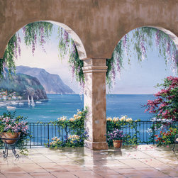 Murals Your Way - Mediterranean Arch Wall Art - Grand arches dripping with blooming flowers frame a view of a Mediterranean seascape in this mural