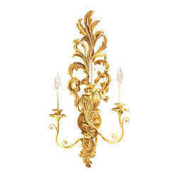 "Inviting Home - Louis XV Sconce in Antiqued Gold-Leaf - Louis XV style gold-leaf wall sconce; 15-1/2"" x 30-1/2""H; hand-crafted in Italy; Louis-XV style electrified carved wood sconce with three lights. This masterfully hand-crafted wall sconce has a rich layered ornamentation. All design elements of the sconce are superbly combined presenting a unified elegant design. The wall sconce is carved from wood and has antiqued gold leaf finish. Lavishly carved details and ornamentation allow for an instant appreciation of the contours and modeling of the beautifully proportioned wall sconce. This carved wood wall sconce is electrified and has three lights designed for candelabra bulb."
