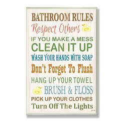 Stupell Industries - Bathroom Rules Typography Rubber Ducky Bath Plaque - Made in USA. Ready for Hanging. Hand Finished and Original Artwork. No Assembly Required. 15 in L x 0.5 in W x 10 in H (2 lbs.)Point your guests in the right direction with elegant bathroom plaque. This decorative wall plaque is crafted of sturdy fiberboard with hand-finished coved borders, each plaque comes with a sawtooth hanger for easy installation on bathroom doors or walls.