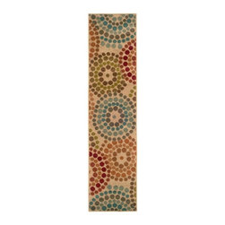 Style Haven - Indoor Beige Abstract Runner Rug (1'10 x 7'6) - This machine-woven rug features a stunning abstract pattern. This rug has a durable stain resistant construction that emphasizes many colors including beige,green,red,blue and orange.