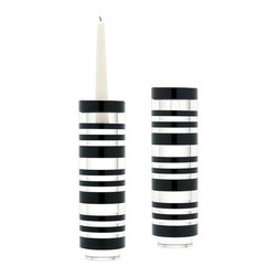 Lazy Susan - Sliced Tuxedo Crystal Candleholder, Large Set Of 2 - Black And Clear Crystal Is Sliced And Hand Polised Before Being Stacked To Create An Interesting Visual Contrast. The Recessed Base Elevates The Piece And Allows Light To Flow Through. Holds A Taper Candle Or Tea Light. Set Of 2.