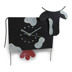 Zeckos - Holstein Cow Wall Clock with Udder Pendulum Metal Art - This cow clock adds an 'udderly' adorable accent to your home, featuring a swinging pendulum that is sure to make you smile. It is hand crafted from recycled metal materials and measures 10.5 inches (27 cm) long, 9.25 inches (24 cm) tall, and 2.5 inches (6 cm) deep. The clock features a quartz movement and runs on 1 AAA battery (not included). A hand-painted crackle finish completes the feel of home-style craftwork. This piece makes a unique accent as a useful, decorative timepiece and it makes a wonderful gift for cow collectors.