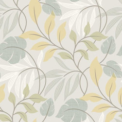 Brewster Home Fashions - Eden Blue Modern Leaf Trail Wallpaper Bolt - Like warm Summer's breeze this graceful blue wall covering of a modern leaf trail coats walls in a soothing and fashionable color palette boasting whimsical charm and stylish beauty.