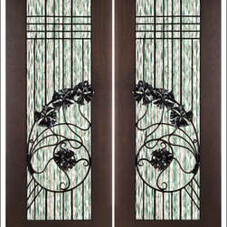 """AAW Inc. - Contemporary Entry Door Model NW-1654 - Model NW-1654 from our New World Collection. Door is solid Mahogany, 2-1/4"""" thick with decorative glass and iron work on the outside."""