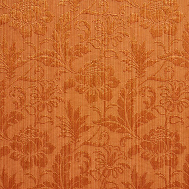 Orange Two Toned Floral Metallic Sheen Upholstery Fabric By The Yard - This multipurpose fabric is great for residential upholstery, bedding and drapery. This material is woven for enhanced elegance. The sheen of this material varies depending on the light for a unique appearance.