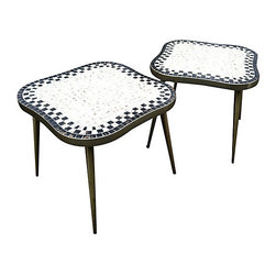 "Royal Board - Consigned 50's Swedish Mosaic Tile End Tables - Fabulous Swedish mosaic tile end tables. Biomorphic styling. Brass legs and trim. Tile infused with gold flecks. Great accents for your sofa. Perfect for plants as well. 23.5"" L x 23.5"" W x 20"" H"