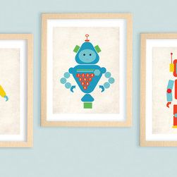 "Robot Set of 3 Nursery Art Prints 11""x14"" by Monkie Birdie - ""ROBOTS- numbers,shapes and colors-set of 3"" nursery original art print set is perfect for a little girl or a boy's room. Makes a great gift for baby showers, birthdays and favors."