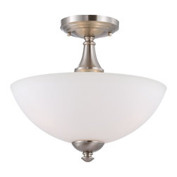 Nuvo Lighting - Nuvo Lighting 60/5064 Patton Es Three Light Semi Flush Ceiling Fixture Finished - Patton ES - 3 Light Semi Flush w/ Frosted Glass - (3) 13w GU24 Lamps Included