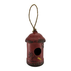 n/a - Red Porcelain Rounded Top Hanging Birdhouse 7.5 In. - This porcelain birdhouse is an adorable accent in your yard that your feathered friends will appreciate. It measures 7 1/2 inches tall, 4 inches in diameter, and has a 1 1/2 inch diameter opening with an inch long perch. Butterflies adorn each side of the opening, and a carefully crafted glazing gives the piece a wonderfully distressed look. A six inch loop of rope allows you to hang this birdhouse from a sturdy branch or pole hanger. It makes a thoughtful housewarming gift for a friend that is sure to be enjoyed year after year.