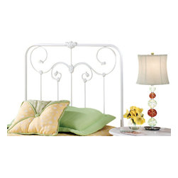 Hillsdale Furniture - Hillsdale Lindsey Panel Headboard with Rails - Queen - A lightly scaled, Victorian styled bed that marries interesting scroll work with vivid castings. Perfect for the little girls first bed.