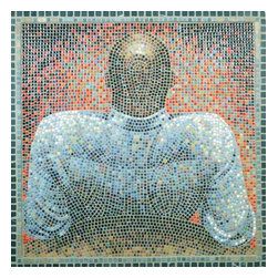 "The Man Mosaic Art - I use the ancient medium of mosaics to create 21st century imagery. The Man is made from micro mosaic (3/8"") tile and marble. 38"" x 38"" in dimension, The Man is a striking piece of art, framed in marble and ready to hang."