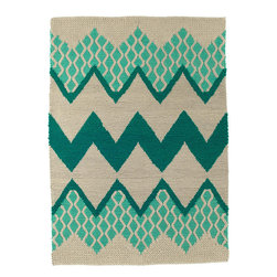 Donna Wilson, SCP - Fairisle Rug in Mineral/Gray by Donna Wilson - Donna Wilson, SCP - Fairisle is a hand-loomed rug designed by Donna Wilson. Its chunky knit texture and brightly coloured zigzag pattern resembles a classic Fairisle sweater design.