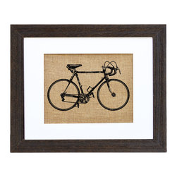 Fiber and Water - Vintage 1940'S Racing Bicycle Art - Hand-pressed onto natural burlap, this lovely sketch of a 1940s racing bicycle is loaded with nostalgic charm. Rustic chic and ready to hang in a distressed black wood frame and white matte, it would look at home among antique furnishings and vintage country decor.