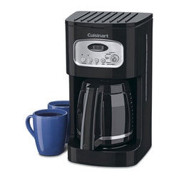 Cuisinart Coffee Maker - 12 Cup - Start your morning right with a cup of coffee made in this 12 Cup Cuisinart Coffee Maker. You can program this coffee pot to start brewing your coffee at a certain time each morning so you can have your coffee waiting for you when you roll out of bed. You can program it up to 24 hours in advanced and with an auto-shut off you don't have to worry about your pot burning if you forget to turn it off on your way out the door. If you can't wait until the pot is full to get your morning fix, the brew pause feature allows you to pause the brewing process so you can pour yourself a cup, without the pot dripping, and then have the coffee maker continue the cycle. An easy-to-read LCD clock is on the front.
