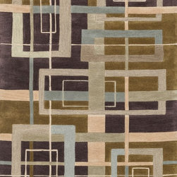 """Loloi Rugs - Loloi Rugs Abacus Collection - Mocha / Multi, 3'-6"""" x 5'-6"""" - The Abacus Collection from China features a trendy series of rugs that pack a modern punch. Its poly-acrylic hand-tufted construction has the look and feel of wool while offering everlasting durability. What's more, its fun patterns are accented by an alluring looped texture that partners well with the cut pile for an added dimension of visual interest."""