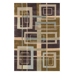 """Loloi Rugs - Loloi Rugs Abacus Collection - Mocha / Multi, 7'-10"""" x 7'-10"""" Round - The Abacus Collection from China features a trendy series of rugs that pack a modern punch. Its poly-acrylic hand-tufted construction has the look and feel of wool while offering everlasting durability. What's more, its fun patterns are accented by an alluring looped texture that partners well with the cut pile for an added dimension of visual interest."""