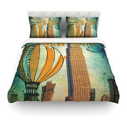 """Kess InHouse - iRuz33 """"New York"""" Cotton Duvet Cover (Queen, 88"""" x 88"""") - Rest in comfort among this artistically inclined cotton blend duvet cover. This duvet cover is as light as a feather! You will be sure to be the envy of all of your guests with this aesthetically pleasing duvet. We highly recommend washing this as many times as you like as this material will not fade or lose comfort. Cotton blended, this duvet cover is not only beautiful and artistic but can be used year round with a duvet insert! Add our cotton shams to make your bed complete and looking stylish and artistic! Pillowcases not included."""