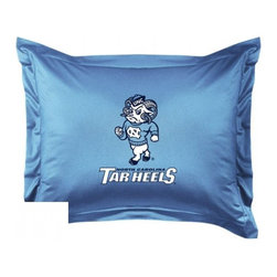 Sports Coverage - North Carolina Tarheels Locker Room Collection Pillow Sham - Show your team spirit with this officially licensed 25 x 31 North Carolina Tarheels sham. There is a 2 flanged edge that decorates all four sides of each North Carolina NCAA sham. Made of 100% polyester jersey mesh, just like the players wear, with screen printed North Carolina Tarheels logo in the center. Envelope closure in back. Fits standard pillow. Coordinates with North Carolina Locker Room Collection. 3 overlapping envelope closure is on back.