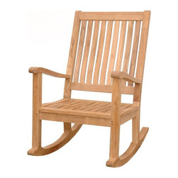 Anderson Teak - Del-Amo Slat Back Rocking Armchair - Unfinished - This rocker is designed to be cherished for decades.  It's a classic in teak that can be enjoyed on the patio, a porch or indoors.  Roomy seat design and a high back offer plenty of space for rocking little ones. * Feature a tall concave back. Slat back and seat design. Made with kiln-dried, grade A Teak wood. Classic style. Minimal assembly required. Overall: 25 in. W x 34 in. D x 41 in. H (39 lbs.). Seat height: 18 in.Our rocking chairs collection is made for rocker lovers. Designed for generous comfort, the deep seat and raked back rest at an angle ideal for relaxing. Our Teak Rocking Chair is a versatile design, which makes this most popular. Simple and stylish for all your outdoor needs. It is a beautiful addition to your garden, backyard or patio furniture.