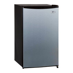 SPT - SPT Stainless Steel Energy Star Compact Refrigerator - This versatile fridge is compact and features a flush back design for placement in a college dorm room or office. Also features a full-width freezer compartment and adjustable thermostat.