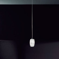 """Vistosi - Vistosi Damasco SP P Pendant Light - Product Description: The Damasco pendant light by Vistosi is designed by Paolo Crepax 2003. This lamp is created using """"Bozzolo"""" technique, which entails manually applying threads of moulded glass on a pre-shaped element in blown crystal. This beautiful light has been handmade on the Venetian island of Murano. Every light comes with a certificate of authenticity.  Product Description:  The Damasco pendant light by Vistosi is designed by Paolo Crepax 2003. This lamp is created using """"Bozzolo"""" technique, which entails manually applying threads of moulded glass on a pre-shaped element in blown crystal. This beautiful light has been handmade on the Venetian island of Murano. Every light comes with a certificate of authenticity.                         Manufacturer:             Vistosi                            Designer:                         Paolo Crepax 2003                                         Made in:            Italy                            Dimensions:                         width: 2.8"""" ( 7 cm) height: 4.5 """" ( 11,5 cm)             overall height 55.1"""" (140 cm)                                         Light bulb:                         1 x 60W G9 halogen                                         Material                         glass, metal"""