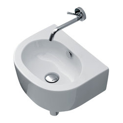 WS Bath Collections - Flo 3147 Ceramic Sink 15.7 x 12.6 - If you have a small bath and need to save space, here's a sink that's sure to work you into a lather. It's sleek and modern, in white ceramic with a stylish oval bowl. It can be mounted to the wall or a counter, and paired with a wall mount faucet.