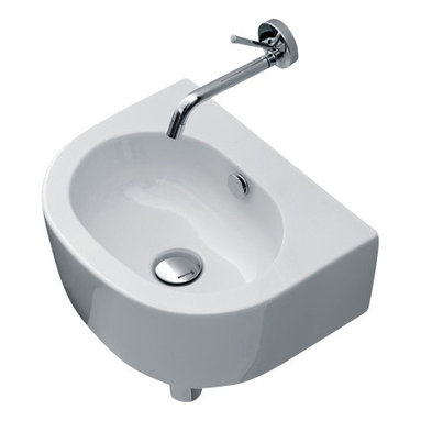 """WS Bath Collections - Flo 3147 Ceramic Sink 15.7""""x 12.6"""" - If you have a small bath and need to save space, here's a sink that's sure to work you into a lather. It's sleek and modern, in white ceramic with a stylish oval bowl. It can be mounted to the wall or a counter, and paired with a wall mount faucet."""