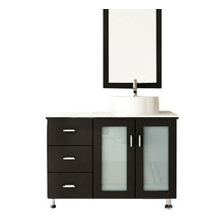 Lune Vessel Single Sink Bathroom Vanity with Phoenix Stone Top
