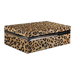 Our Collection - Box, Leopard Printed - Leopard printed hair on hide covered box. Nickel Trim and felt lined.