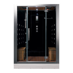 "Ariel Platinum - Ariel Platinum DZ972F8 Steam Shower - Enjoy the pleasures of the Ariel Platinum DZ972F8 steam shower in your home. These units are fully loaded with a steam shower enclosure, a built-in steam generator, and a FM radio which are all designed to greatly increase your therapeutic experience. We are confident that you will indulge in a state of complete relaxation and tranquility with all of these features  within these steam bath enclosures. Look below for the features and detailed specifications of this steam shower. DZ972F8    Dimensions: 59"" x 32"" x 87.4""  ETL listed (US & Canada electrical safety) 220v  Steam Sauna (6KW Generator)   Cleaning Function  Acupuncture Massage  Dual Overhead Rainfall Ceiling  Handheld Showerhead  20 Body Massage Jets  Chromatherapy Lighting  Computer Control Panel With Timer  FM Radio  2 Stools  Wooden Floorboard  Aromatherapy System (Oils not Included)  Ventilation Fan  Drain with Trap Included  Retrofit (Standard Bathtub Size)"
