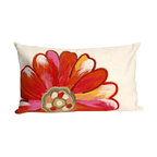 """Trans-Ocean Inc - Daisy Orange 12"""" x 20"""" Indoor Outdoor Pillow - The highly detailed painterly effect is achieved by Liora Mannes patented Lamontage process which combines hand crafted art with cutting edge technology. These pillows are made with 100% polyester microfiber for an extra soft hand, and a 100% Polyester Insert. Liora Manne's pillows are suitable for Indoors or Outdoors, are antimicrobial, have a removable cover with a zipper closure for easy-care, and are handwashable.; Material: 100% Polyester; Primary Color: Orange;  Secondary Colors: orange, pink, white; Pattern: Daisy; Dimensions: 20 inches length x 12 inches width; Construction: Hand Made; Care Instructions: Hand wash with mild detergent. Air dry flat. Do not use a hard bristle brush."""