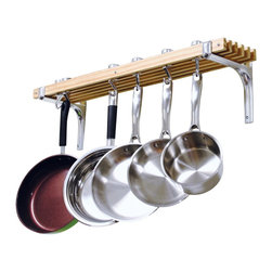 Cooks Standard - Cooks Standard Wall-Mount Pot Rack - What's in Box: Wall mount wooden Pot Rack length 36-inch, depth 8-inch, include 6 wood track, 4 Pan hooks and 2 Swivel Hooks, made of solid cast aluminum, bracket is made of solid aluminum.